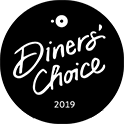 Black and white logo of an award that Caffe Abbracci has won - Open Table winnder Diners' Choice 2017