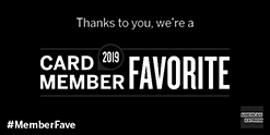 Black and white logo of an award that Caffe Abbracci has won - American Express Card Member Favorite